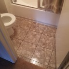 New floor tiles in bathroom