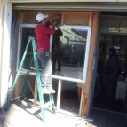 Installing new store window and frame