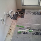 Laying WonderBoard® in bathroom for new floor