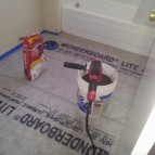 Preparing to lay tile floor