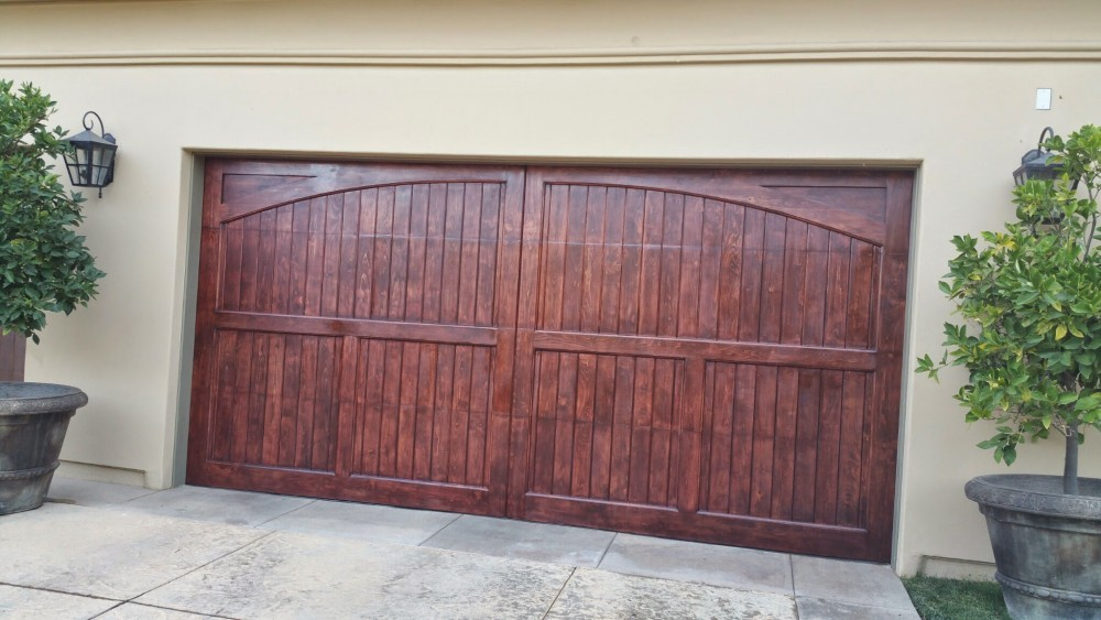 Garage door staining